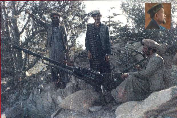 Zainon (on the right and inset) manning heavy artillery in Afghanistan.