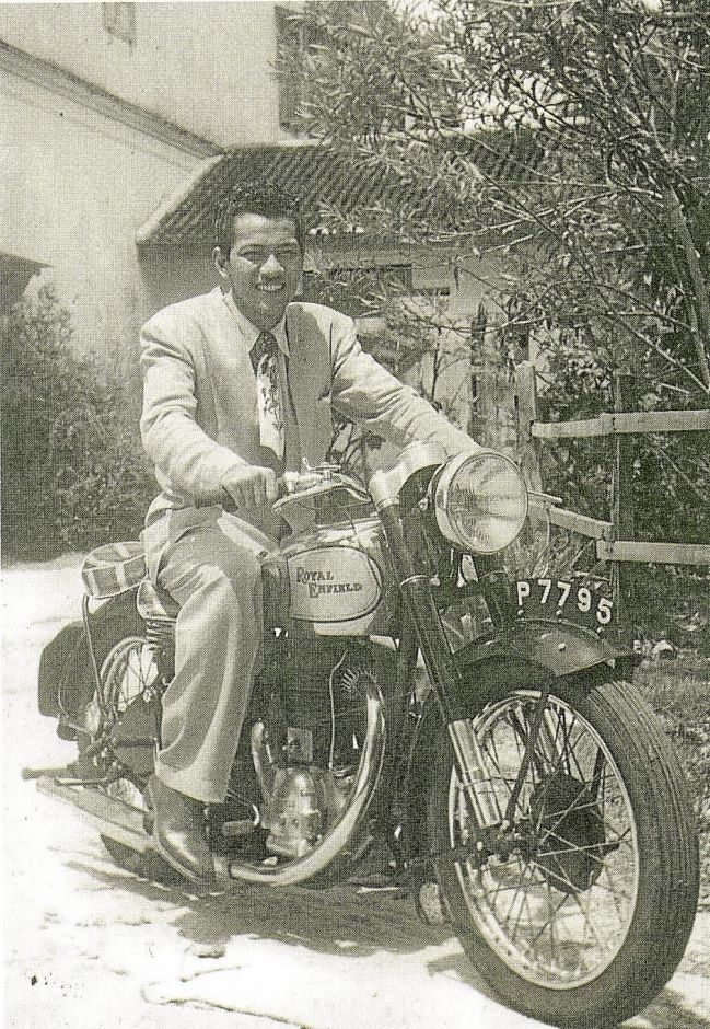 The late Tan Sri P. Ramlee (1928-1973) became famous as a screen star in the 1950s. In this photo, he is on a motorcycle in front of a house in Macalister Road; P Ramlee is named after him. Although he is not of Indian blood, Ramlee is perhaps the most famous 'urban' Malay. Glimpses of Old Penang, pg45