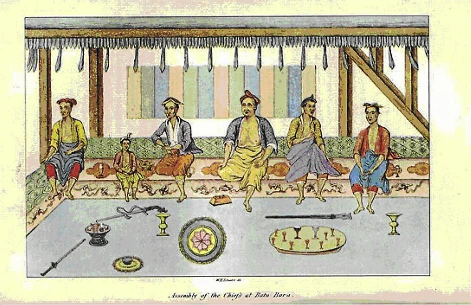 The great man's geandson: This is a drawing from the book by John Anderson (1826) Mission to the East Coast of Sumatra in 1823. The person sitting fourth from left is, was Datuk Muda Husin, the Datuk Bogak Batubara Tanah Datar, the grand son of Datuk Jenaton. Dato  Muda Husin is the closest that we can get of the image of Datuk Jenaton. - Pix and caption courtesy of Prof A. Murad Merican, Universiti Teknologi Petronas professor and Penang Malay Historical and Heritage Society deputy president
