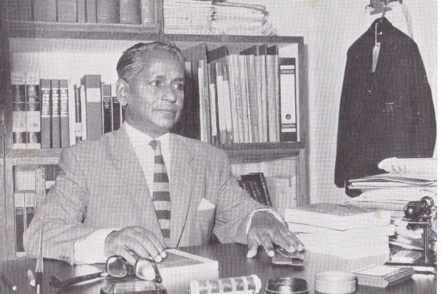 The educator: Ramanathan in his office in 1963. - Photo courtesy of MBS Heritage Centre